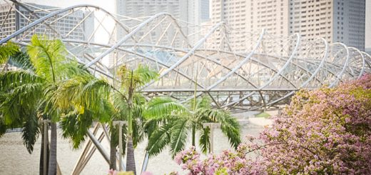 Hélix bridge vu depuis l'Esplanade à Singapour